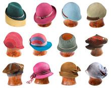 Set Of Ladies Felt Hats On Wooden Hat Block