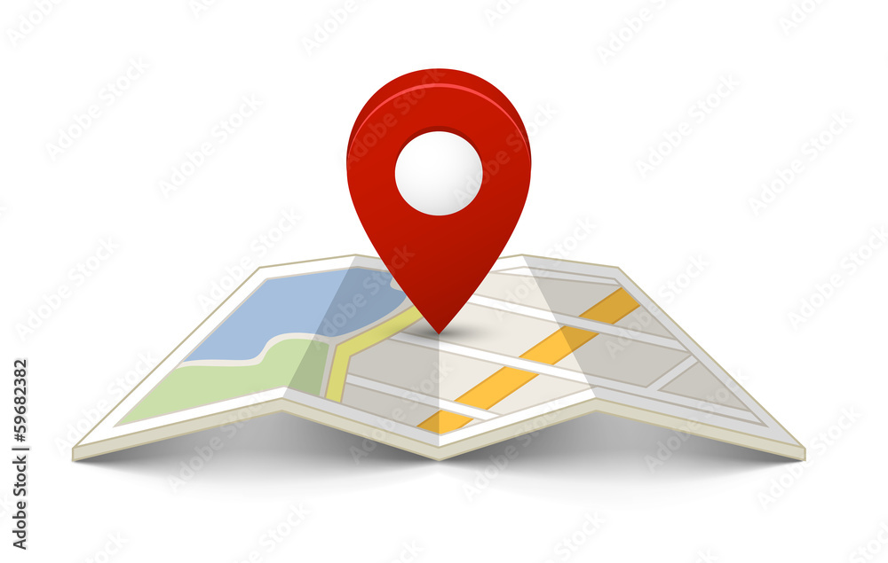 Fototapeta Map with a pin