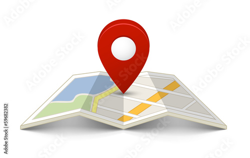 Fotografía  Map with a pin