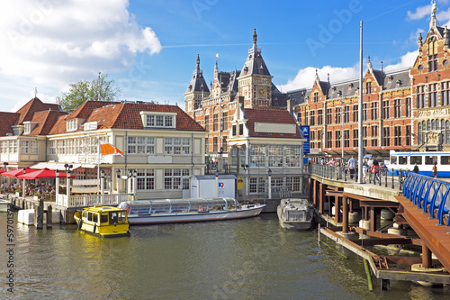 Ingelijste posters Amsterdam City scenic from Amsterdam with the central station in the Nethe