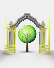 Golden Gate Entrance With Leafy Tree Vector