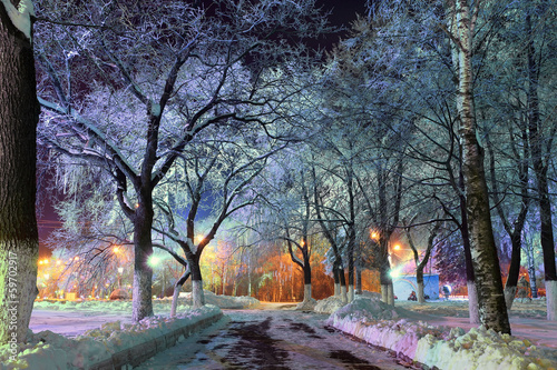 Deurstickers New York night winter landscape in the city