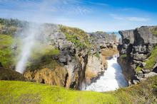 Pancake Rocks In Punakaiki, South Island, New Zealand