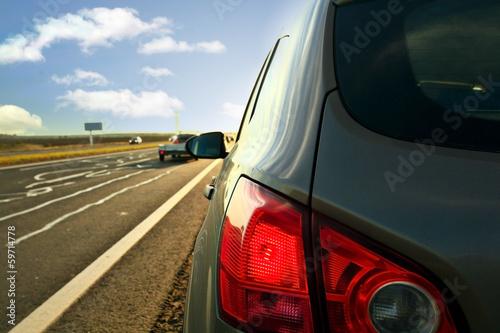 Fototapeta Autumn highway travel cars blur obraz na płótnie