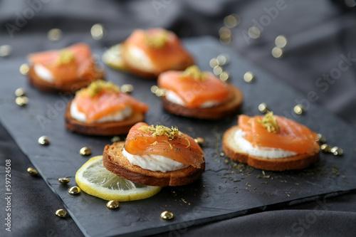 Fotografie, Obraz  Toasts au saumon fumé 1