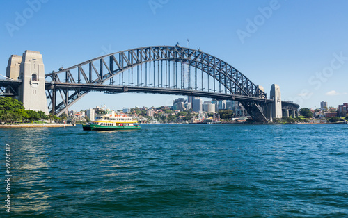 Poster Océanie Dramatic panoramic photo Sydney harbor