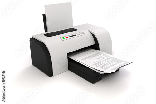 Fotografía  3d image of home printer and documents