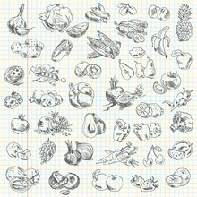 Freehand Drawing Fruit And Veg...