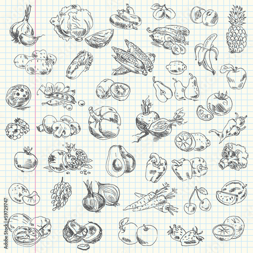 Poster Cuisine Freehand drawing fruit and vegetables