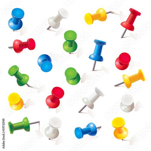 Fényképezés  Set of push pins in different colors. Thumbtacks