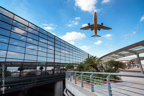 Poster Aeroport modern airport terminal and aircraft