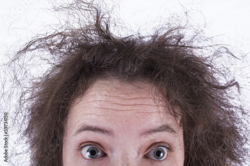Fotografie, Obraz  Top Half of Surprised Frizzy Haired Girls Head