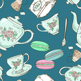 Seamless pattern of tea set and French macaroons