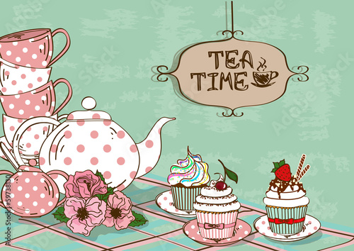 Illustration with still life of tea set and cupcakes - 59738130