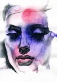 Beautiful woman.  Hand painted fashion illustration - 59747904