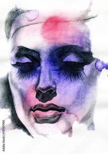 Śliczna kobieta. Ręcznie malowane ilustracja mody