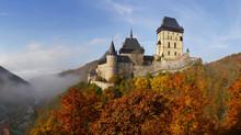 Romantic Castel Karlstejn In Autumn. Central Bohemia Near Prague