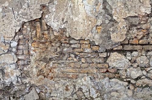 Photo sur Toile Cailloux parete mista pietra e mattoni