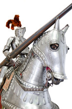 Knight On Warhorse On White Is...