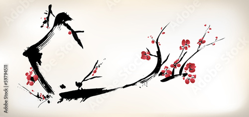 Obraz blossom painting - fototapety do salonu