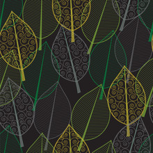 Seamless Pattern Of Green And Yellow Leaves Painted Lines