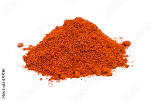 Canvas Prints Spices Kashmiri Chili Powder Pile On White Background