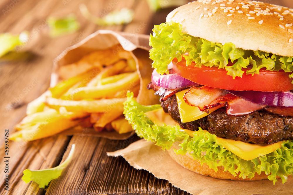 Obraz Fresh hamburger fototapeta, plakat
