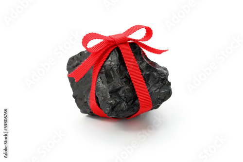 Fotomural coal with red ribbon