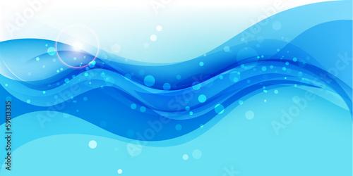 Fotografía  Wave background, abstract blue illustration, vector template