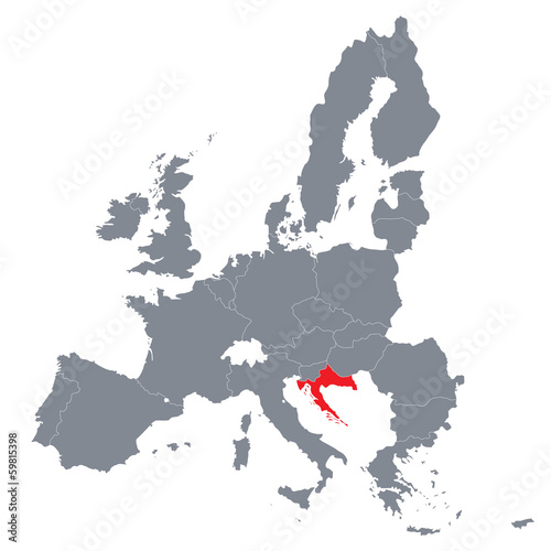 Map Of European Union With The Indication Of Croatia Buy This