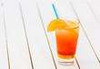 Refreshing glass of natural orange juice