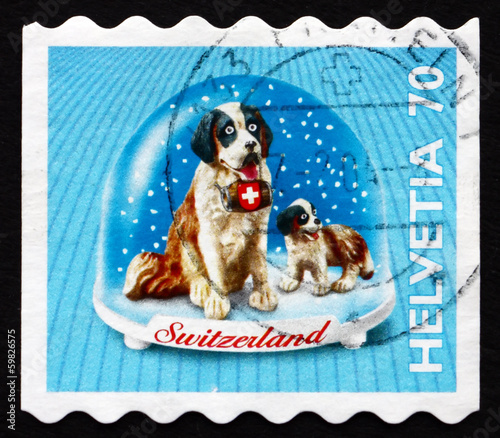 Valokuvatapetti Postage stamp Switzerland 2000 St. Bernard Dog, Souvenir