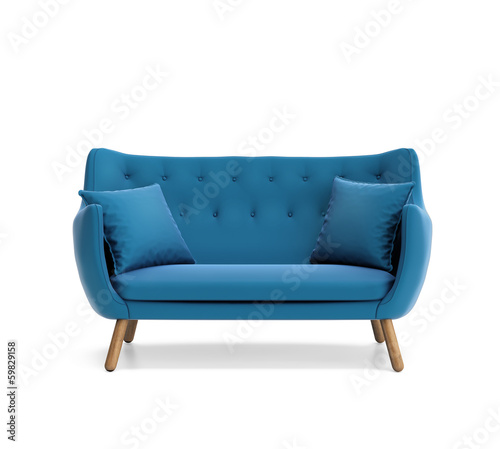 Fotografering Isolated contemporary blue buttoned sofa