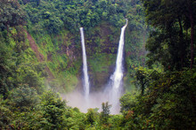 Tad Fan Waterfall In Southern Laos