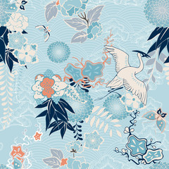Plakat Kimono background with crane and flowers
