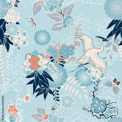 Fotografia  Kimono background with crane and flowers
