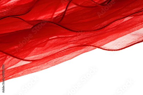 Fotografie, Obraz  soft red chiffon with curve and wave