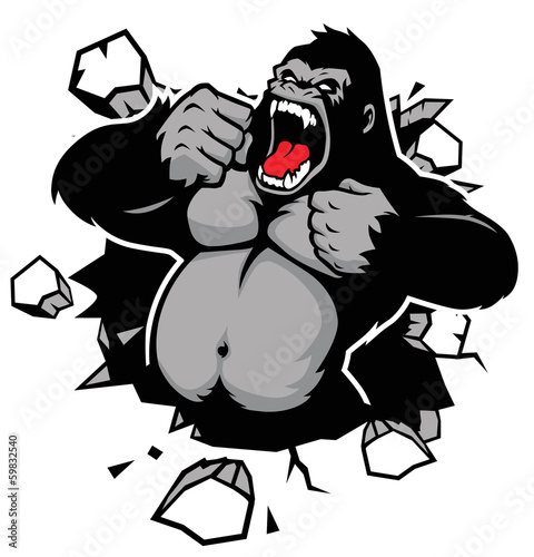 Photo  angry gorilla breaking the wall