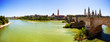 Panoramic view from Ebro river. Zaragoza