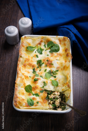 Fototapeta lasagne with salmon and spinach obraz