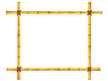 Wooden Frame Of Old Bamboo Sti...