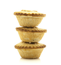 Stack Of Christmas Mince Pies On A White Background