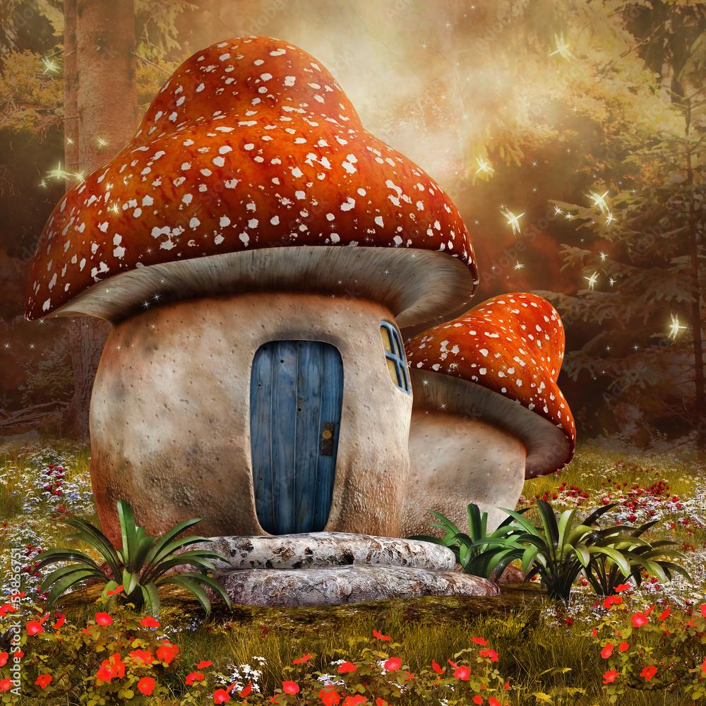 Fototapety, obrazy: Baśniowy domek z muchomora