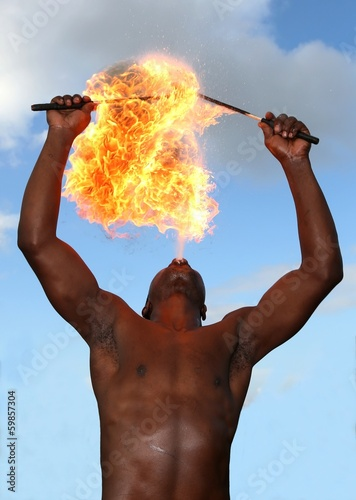 Feuerschlucker im Circus Fototapete