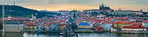 Poster Prague Panoramic winter view of Prague on the sunset