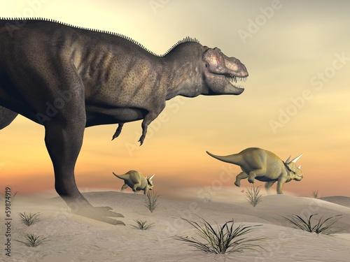 triceratops-ucieka-z-tyranozaurem-3d-render