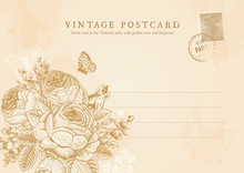 Vector Vintage Postcard In Victorian Style