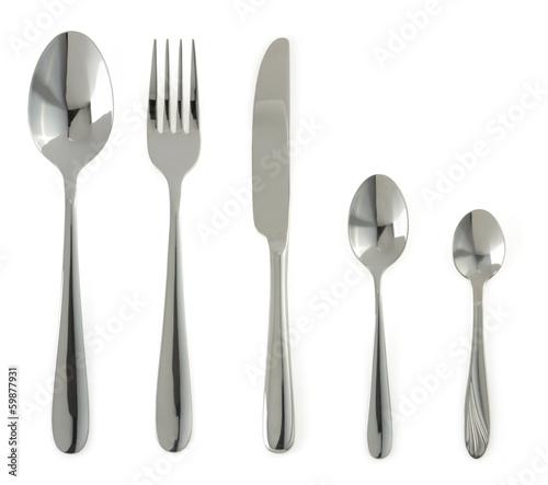 Fotografie, Obraz  spoon, knife and fork  on white