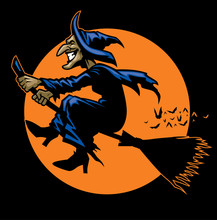 Witch Ride A Flying Broomstick