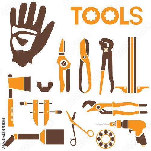 Fotografie, Obraz  tools, orange color theme
